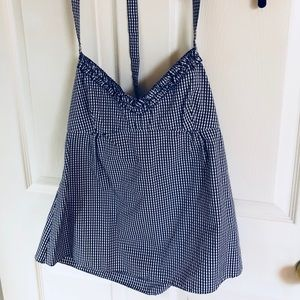 J Crew Navy and White Halter Top